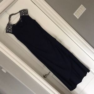 Midnight Blue Gown with Silver Accents